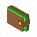 cash, isometric, money, wallet icon