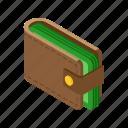 cash, isometric, money, wallet