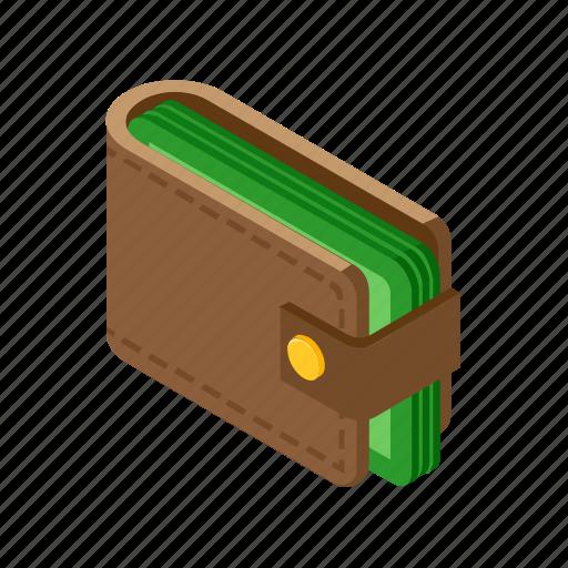 cash, isometric, money, wallet icon