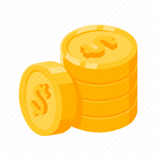 coins, gold, isometric, money, pile, pile of coins icon
