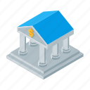 bank, finance, isometric, money, office icon