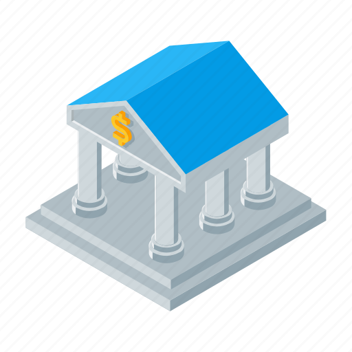bank, finance, isometric, money, office icon