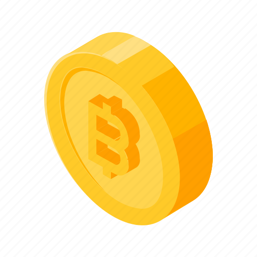 bitcoin, coin, finance, gold, isometric, money icon