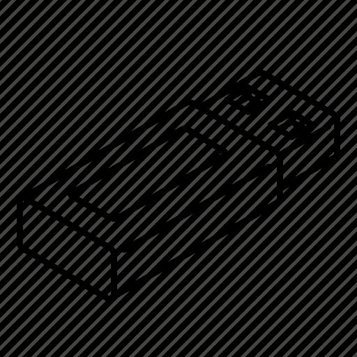 drive, electronic, flash, isometric, memory, usb icon