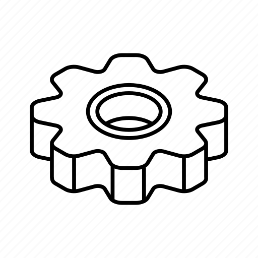 cogwheel, isometric, mechanical, settings, update, upgrade icon