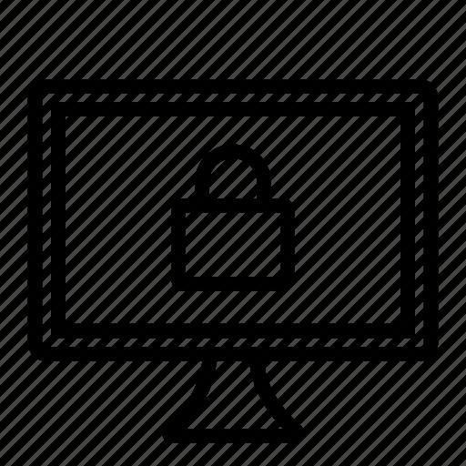 computer, hardware, it, lock, programming, screen, service icon