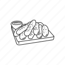 bread, breadsticks, dip, dry bread, food, snack, sticks icon