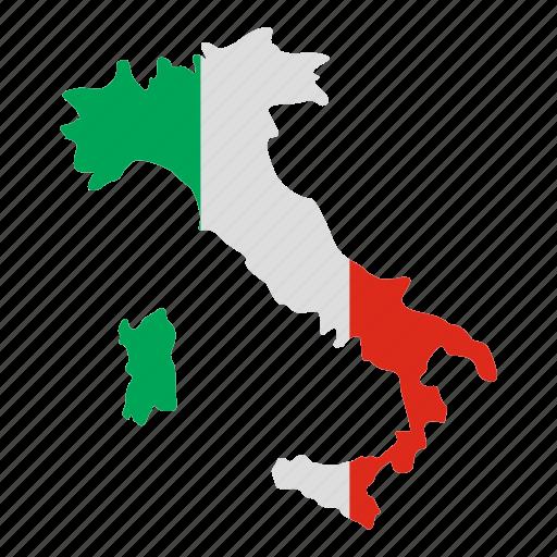atlas, flag, homeland, italian, italy map, stylized, territory icon