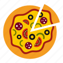 cafe, delicious, italian, meal, pizza, slice, vegetarian icon