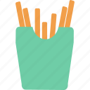 chips, french, fried, fries, potato, snack, wedge icon