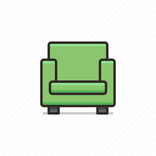 armchair, chair, furniture, square icon
