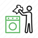 cleaning, clothing, home, laundry, machine, man, washing icon