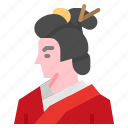 asian, female, geisha, japan, kimono icon