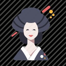 asian, female, geisha, japan, japanese, kimono, kyoto icon