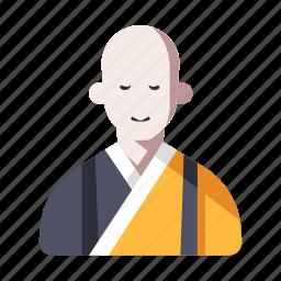 asian, buddhist, character, japanese, japanese monk, monk, religion icon