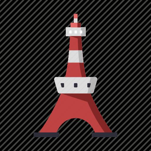 japan, landmark, skyscraper, tokyo, tokyo tower, tower, travel icon