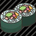 maki, rice, seaweed, roll, delicious