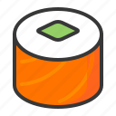food, japan, line, maki, salmon, salmon roll, sushi icon