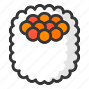 food, japan, line, roll, sushi icon