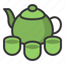 food, japan, line, tea, tea cup, teapot icon