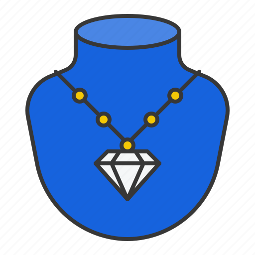 accessory, diamond, fashion, jewelry, necklace, pendant icon
