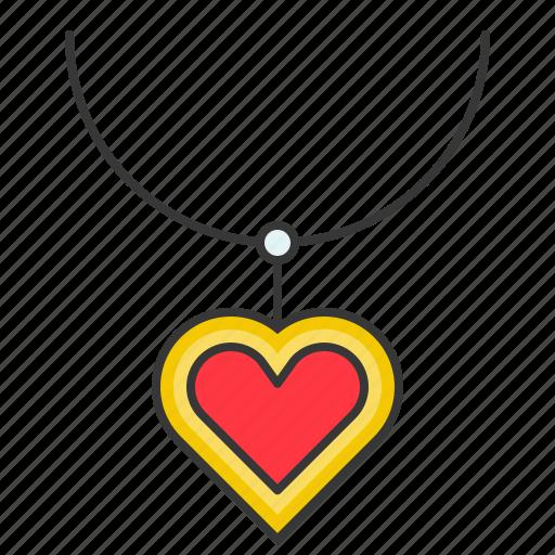 accessory, fashion, heart, jewelry, necklace, pendant icon
