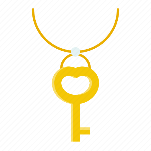 accessory, fashion, jewelry, key, necklace, pendant icon