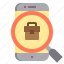 briefcase, business, human, job, management, online, search icon