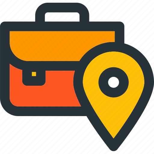 briefcase, job, location, map, pin, pointer icon