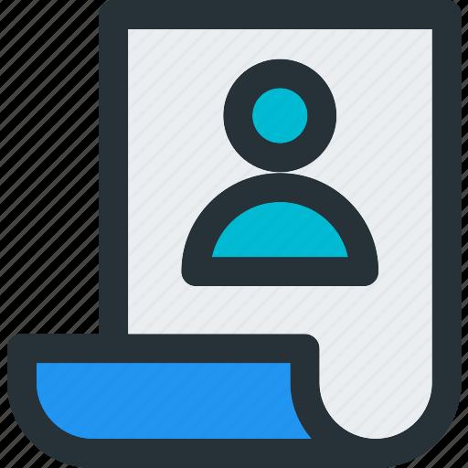 account, avatar, cv, paper, profile, resume, user icon