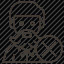 avatar, close, delete, man icon