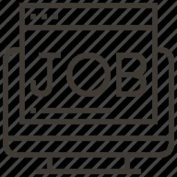 computer, job search, webpage, work icon