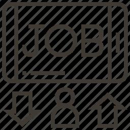 arrows, job, job search, person icon