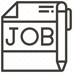 job, job search, pen, work icon