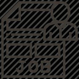 document, file, job search, person icon