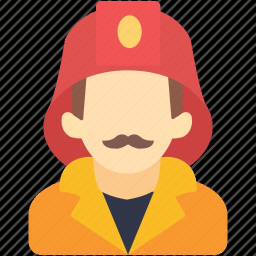 avatar, firefighter, fireman, human, man, rescuer, uniform icon