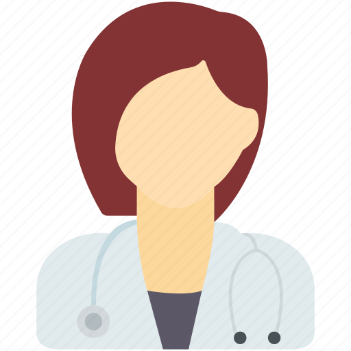 doctor, female, nurse, stethoscope, uniform, woman icon