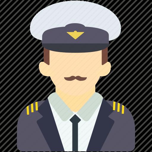 avatar, human, man, pilot, police, security, uniform icon