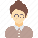 avatar, female, girl, secretary, teacher, woman icon