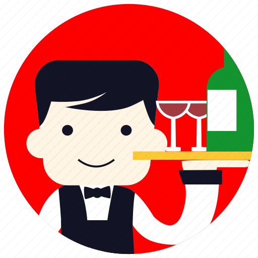 bartender, bottle, bowtie, glasses, jobs, service, smile icon