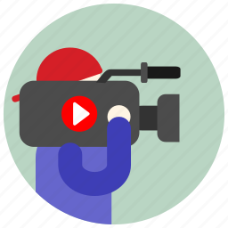 camera, cap, jobs, man, microphone, play, record icon