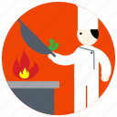 bowl, chef, cook, flame, jobs, uniform icon