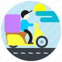 cap, cloud, delivery, jobs, man, scooter, sun