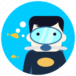 bubbles, diver, fish, goggles, jobs, ocean, sea icon