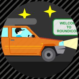 driver, jobs, lights, night, stars icon