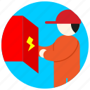 box, cap, electrician, electricity, jobs icon