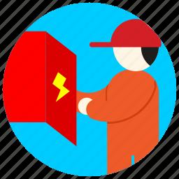 box, cap, electrician, electricity, jobs icon