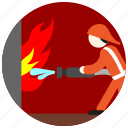 fighter, fire, flame, hose, jobs, uniform, water icon