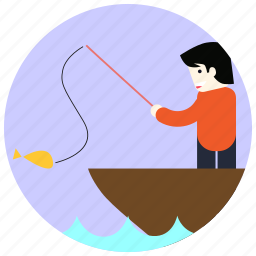 boat, fish, fisher, jobs, pole icon