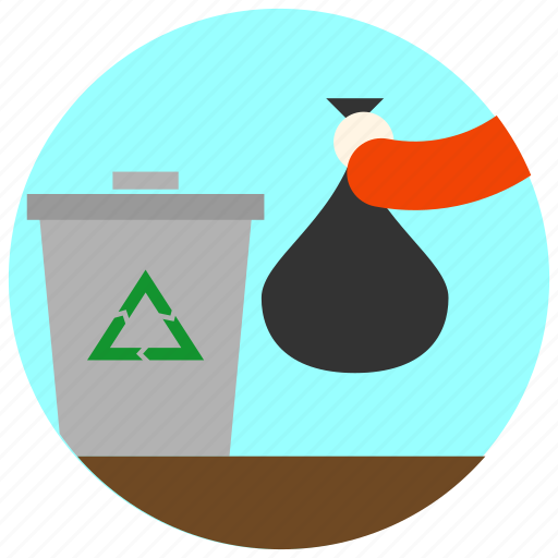 bag, can, garbage, jobs, man, recycle, triangle icon